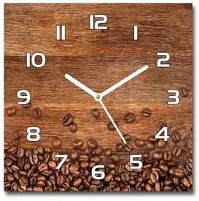 Sklenené hodiny štvorec Zrnká kávy pl_zsk_30x30_f_104485723