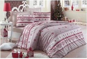 Béžové bavlnené obliečky s plachtou Snow, 160×220 cm