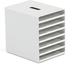 Zásuvkový box na triedenie dokumentov, 7 priehradok, šedý
