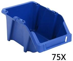 vidaXL Stohovateľné úložné boxy 75 ks, 153x244x123 mm, modré