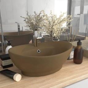 vidaXL Luxusné umývadlo, prepad, matné krémové 58,5x39 cm, keramika