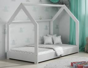 AMI nábytok Dětská postel DOMČEK D1 80x160cm masiv bílá