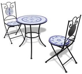 Mozaikový stôl modro bielej farby 60 cm s 2 stoličkami