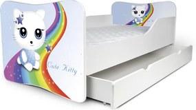 MAXMAX Detská posteľ so zásuvkou MAČIČKA s dúhou + matrac ZADARMO