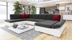 Luxusní sedačka ve tvaru U Bravo, bílá/tmavě šedá  Roh: Orientace rohu Pravý roh