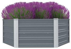 vidaXL Vyvýšený záhradný kvetináč, 129x129x46 cm, pozinkovaná oceľ, šedá