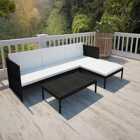 vidaXL 9-dielna vonkajšia sedacia súprava, polyratanová, čierna