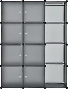 Šatníková skriňa s 12 variabilnými krabicami v tmavo šedej farbe