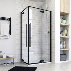 Aquatek JAGUAR R14 100 × 80 Sprchovací kút rohový vstup, čierny matný, číre sklo 8 mm, 100 × 80 × 200 cm