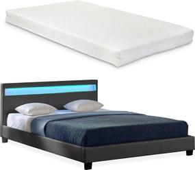 Corium® Moderná manželská posteľ s matracom 'Paris' - tmavo sivá - 140 x 200 cm