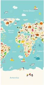 Plážová osuška s potlačou Good Morning Worldmap, 150 × 75 cm