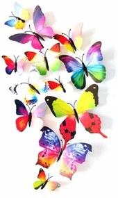 Veselá Stena Farebné 3D Motýliky Viacfarebné