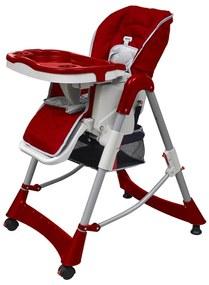 Detská vysoká stolička, výškovo nastaviteľná, červená bordó (bordeaux