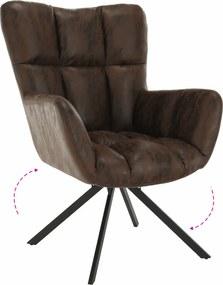 Dizajnové otočné kreslo, látka s efektom brúsenej kože, hnedá/čierna, KOMODO