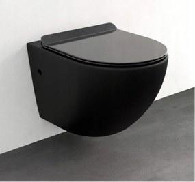 MEXEN LENA Rimless misa závesná so sedátkom voľne-padajúcim SLIM, 48 x 36 cm, čierna, 30224070