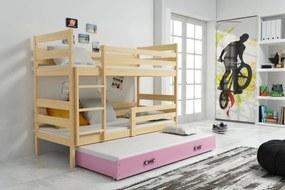 Poschodová posteľ s prístelkou ERIK 3 - 160x80cm - Borovica - Ružová