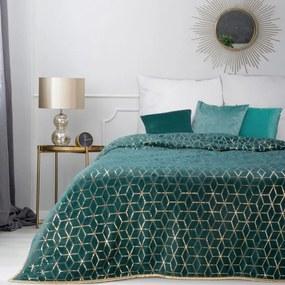 DomTextilu Štýlový tyrkysový prehoz na manželskú posteľ Šírka: 200 cm | Dĺžka: 220 cm 40479-185414