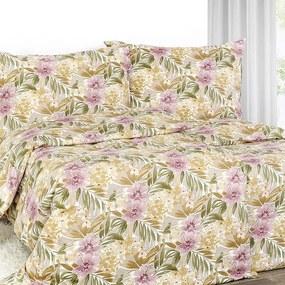 Goldea exkluzívne ľanové obliečky - vzor ružové havajské kvety 140 x 200 a 70 x 90 cm