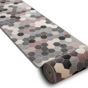 Behúň HEOS 78537 sivý / ružový / krém HEXAGON - 60 cm