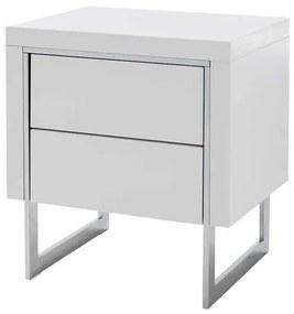 Sconto Nočný stolík BRADLEY biela vysoký lesk/strieborná