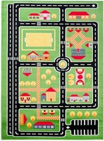 Detský kusový koberec plan mesta zelený, Velikosti 300x400cm