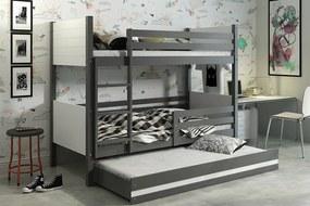 Poschodová posteľ s prístelkou CLIR 3 - 190x80cm - Grafitová - Biela