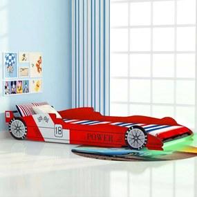 vidaXL Detská posteľ s LED, pretekárske auto, 90x200 cm, červená