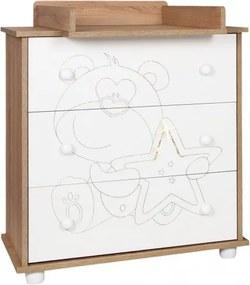 NEW Baby Detská komoda New Baby Medvedík s hviezdičkou dub