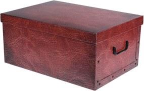 Home collection Úložné krabice se vzorem Kůže 51x37x24cm vínová