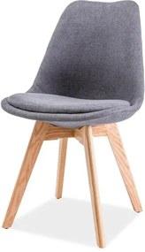 Tmavosivá stolička s dubovými nohami DIOR