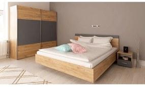 Spálňový komplet (posteľ 160x200 cm), dub artisan/grafit, GABRIELA