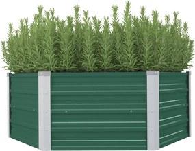 vidaXL Vyvýšený záhradný kvetináč zelený 129x129x46 cm pozinkovaná oceľ