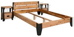 vidaXL Rám postele s 2 nočnými stolíkmi, akáciové drevo, oceľ, 140x200 cm