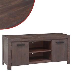 Stolík na TV z akáciového dreva, dymový odtieň, 120x35x45 cm