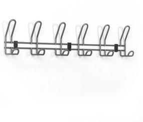 Nástenný vešiak na kabáty, šírka 600 mm, 6 háčikov