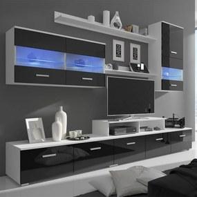 vidaXL Televízna 7-dielna obývačková zostava nábytku s LED, 250 cm, vysoko-lesklá, čierna