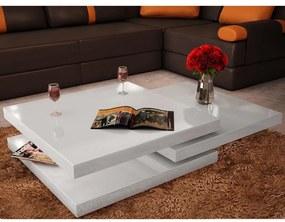 vidaXL Konferenčný stolík, 3 úrovne, vysoký lesk, biely