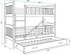 Poschodová posteľ s prístelkou KUBO 3 - 200x90cm Biela - Ružová