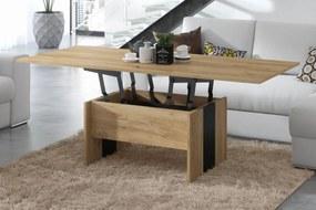 SOLO zlatý dub / černá, rozkladací, zdvíhací, konferenčný stolík