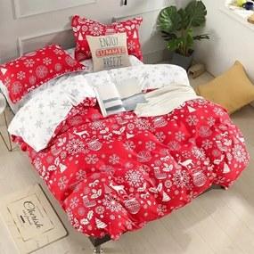 HOD Vianočné posteľné obliečky CHRISTMAS RED 3 set 140x200cm