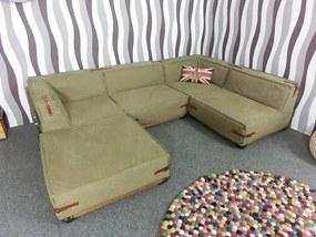 (2111) FAIRVIEW bavlnená rohová moderná pohovka zelená + taburetka