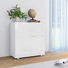 vidaXL Komoda, vysoký lesk, biela 71x35x76 cm, drevotrieska