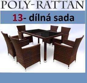 Záhradný ratanový nábytok TAMARA hnedá/čierny stol