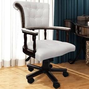 vidaXL Chesterfield kapitánske otočné kancelárske kreslo, biele