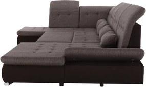 TEMPO KONDELA Resta P rohová sedačka u s rozkladom tmavohnedá / hnedá melírovaná