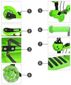 ISO Hulajnoga Trojkolka LED svietiaci 3v1, zelená, 3481