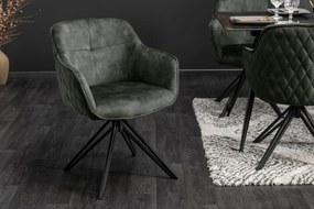 Dizajnová stolička Natasha tmavozelený zamat