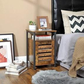 VASAGLE Nočný stolík s policou industriálny hnedý 40 x 40 cm