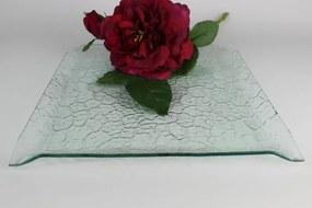 Priehľadný sklenený hranatý tanier vzorovaný 29 cm