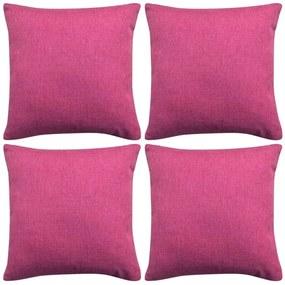 vidaXL Návliečky na vankúše, 4 ks, plátnový vzhľad, ružové, 40x40 cm